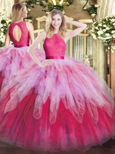Floor Length Multi-color Quinceanera Gown Scoop Sleeveless Zipper