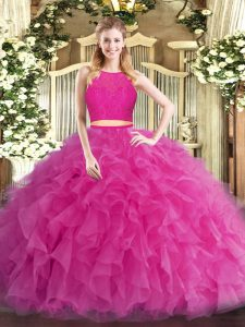 Scoop Sleeveless Tulle Quinceanera Dress Ruffles Zipper
