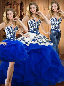 Blue Three Pieces Embroidery and Ruffles 15th Birthday Dress Lace Up Satin and Organza Sleeveless Floor Length