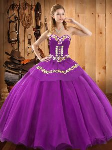 Sleeveless Satin and Tulle Floor Length Lace Up Ball Gown Prom Dress in Purple with Embroidery