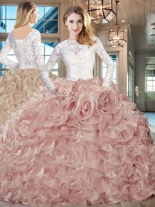 Long Sleeves Lace and Ruffles Lace Up Sweet 16 Quinceanera Dress with Champagne Brush Train