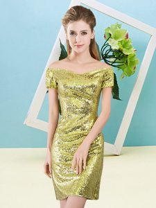 Modest Off The Shoulder Short Sleeves Zipper Dress for Prom Yellow Sequined