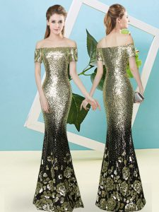 Glamorous Short Sleeves Sequined Floor Length Zipper Prom Party Dress in Gold with Sequins
