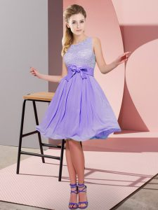 Top Selling Lavender Empire Lace and Bowknot Quinceanera Court of Honor Dress Side Zipper Chiffon Sleeveless Knee Length