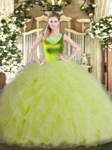 Scoop Sleeveless Sweet 16 Quinceanera Dress Floor Length Beading and Ruffles Yellow Green Organza