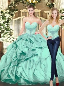 Pretty Floor Length Ball Gowns Sleeveless Apple Green Sweet 16 Dresses Lace Up