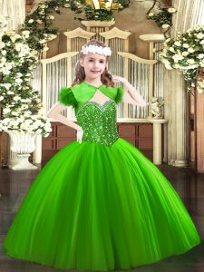 Trendy Green Straps Lace Up Beading Little Girls Pageant Dress Wholesale Sleeveless
