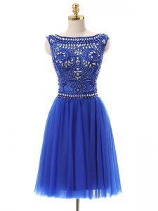 Customized Bateau Sleeveless Dress for Prom Mini Length Beading Royal Blue Tulle
