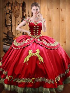 Simple Red Satin and Organza Lace Up Off The Shoulder Sleeveless Floor Length Quinceanera Dress Beading and Embroidery