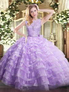Unique Lavender Ball Gowns Organza Scoop Sleeveless Lace and Ruffled Layers Floor Length Backless Quinceanera Dress