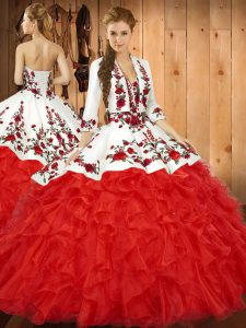 Tulle Sweetheart Sleeveless Lace Up Embroidery and Ruffles Vestidos de Quinceanera in Red