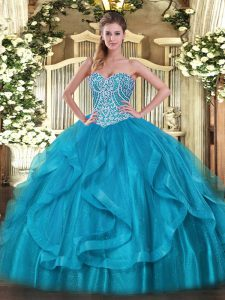 Beading and Ruffles Quinceanera Gowns Baby Blue Lace Up Sleeveless Floor Length