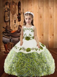 Sleeveless Floor Length Embroidery and Ruffles Lace Up Child Pageant Dress with Multi-color