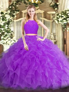 Eggplant Purple Zipper Quinceanera Gown Ruffles Sleeveless Floor Length