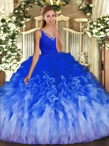 Sleeveless Tulle Floor Length Backless 15th Birthday Dress in Multi-color with Ruffles
