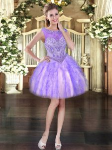 Lavender Lace Up Prom Party Dress Beading and Ruffles Sleeveless Mini Length
