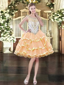 Glorious Mini Length Peach Prom Gown Organza Sleeveless Beading and Ruffled Layers