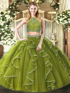 Unique Olive Green High-neck Neckline Beading and Ruffles Ball Gown Prom Dress Sleeveless Zipper