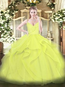 Yellow Green and Yellow Tulle Zipper Spaghetti Straps Sleeveless Floor Length Sweet 16 Dresses Ruffles and Ruching