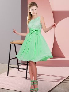 Apple Green Chiffon Side Zipper Scoop Sleeveless Knee Length Quinceanera Dama Dress Lace and Bowknot