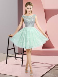 Apple Green Cap Sleeves Lace Backless Evening Dress for Prom and Party