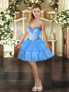 Edgy Sleeveless Mini Length Beading and Ruffled Layers Lace Up with Baby Blue