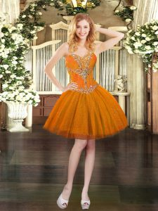 Tulle Sweetheart Sleeveless Lace Up Beading Evening Dress in Orange