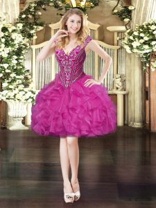 Fashionable V-neck Sleeveless Prom Party Dress Mini Length Beading and Ruffles Fuchsia Organza