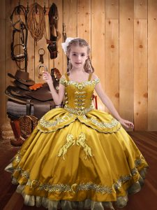 Discount Gold Custom Made Pageant Dress Sweet 16 and Quinceanera with Beading and Embroidery Off The Shoulder Sleeveless Lace Up