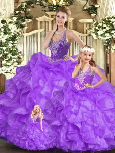 Free and Easy Sleeveless Beading and Ruffles Lace Up Quinceanera Dresses