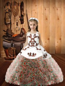 Multi-color Fabric With Rolling Flowers Lace Up Girls Pageant Dresses Sleeveless Floor Length Embroidery