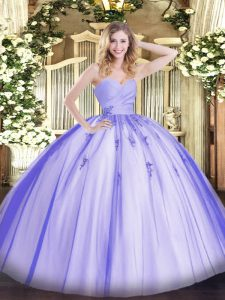 Fancy Lavender Ball Gowns Sweetheart Sleeveless Tulle Floor Length Lace Up Beading and Appliques Quinceanera Gowns
