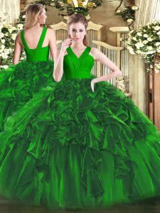 High Quality Floor Length Dark Green 15th Birthday Dress Organza Sleeveless Ruffles