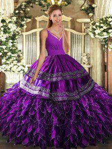 Modern Eggplant Purple Organza Lace Up V-neck Sleeveless Floor Length Sweet 16 Dress Beading and Appliques and Ruffles