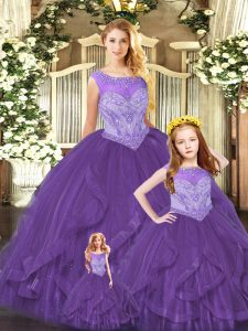 Ball Gowns Ball Gown Prom Dress Purple Scoop Organza Sleeveless Floor Length Lace Up