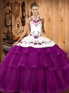 Fine Eggplant Purple Ball Gowns Organza Halter Top Sleeveless Embroidery and Ruffled Layers Lace Up Ball Gown Prom Dress Sweep Train