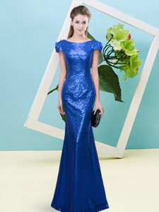 Royal Blue Sequined Zipper Homecoming Dress Cap Sleeves Floor Length Sequins