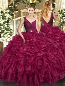 V-neck Sleeveless Organza Quinceanera Dress Beading and Ruffles Backless