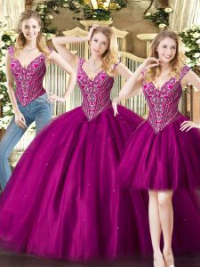 Fuchsia Sleeveless Beading Floor Length Quinceanera Gowns