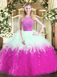 Floor Length Multi-color Quinceanera Dress Tulle Sleeveless Beading and Ruffles