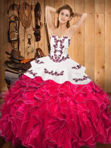 Dynamic Hot Pink Satin and Organza Lace Up Strapless Sleeveless Floor Length Ball Gown Prom Dress Embroidery and Ruffles