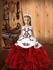 Wine Red Organza Lace Up Straps Sleeveless Floor Length Little Girl Pageant Gowns Embroidery and Ruffles