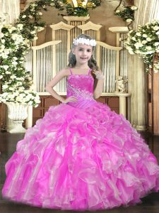 Sweet Beading and Ruffles and Sequins Pageant Dress for Teens Rose Pink Lace Up Sleeveless Floor Length