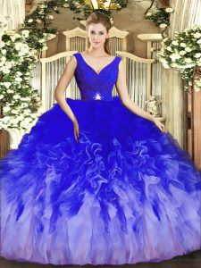 Multi-color Sleeveless Beading and Ruffles Floor Length Quinceanera Gown