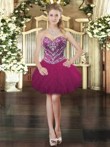 Beading and Ruffles Dress for Prom Fuchsia Lace Up Sleeveless Mini Length