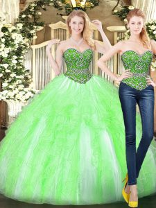 Yellow Green Tulle Lace Up Sweetheart Sleeveless Floor Length 15 Quinceanera Dress Beading and Ruffles