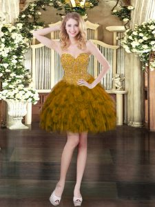 Fashionable Sweetheart Sleeveless Mini Length Beading and Ruffles Brown Organza