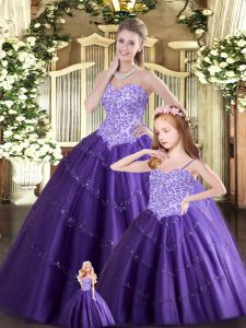 Purple Ball Gowns Beading Sweet 16 Dress Lace Up Tulle Sleeveless Floor Length