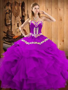Sleeveless Lace Up Floor Length Embroidery and Ruffles Vestidos de Quinceanera