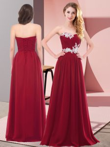 Wine Red Sweetheart Lace Up Appliques Prom Party Dress Sleeveless